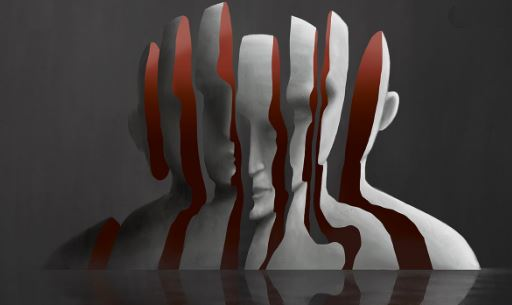 drawing of a bust sliced into 7 sections, inside of slices is red, outside of slices are white, reflected on black surface, dark grey background
