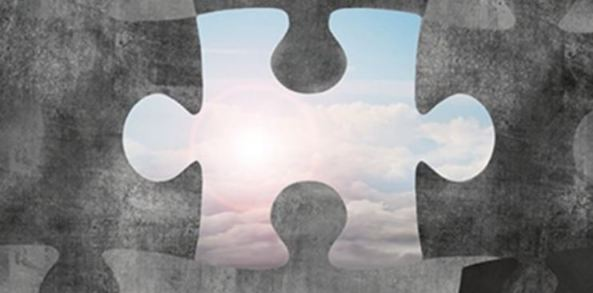 painting of grey puzzle pieces, missing piece in the centre shows blue sky & white clouds