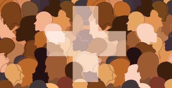drawing of multiple head silhouettes in different colours white, drawn brown, brown, peach overlaying each other superimposed with th transparent thick white cross