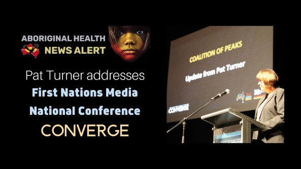 feature tile text 'Pat Turner addresses First Nations Media National Conference CONVERGE', image of Pat at lecture at conference with screen in background with words 'Coalition of Peaks Update from Pat Turner'