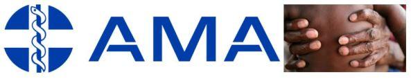 AMA logo, Aboriginal hands holding torso of Aboriginal baby no clothes