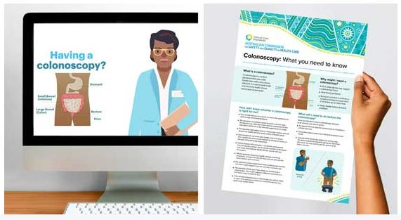 vector images of computer screen with text 'Having a colonoscopy?' & diagram of bowel & hand holding colonoscopy fact sheet
