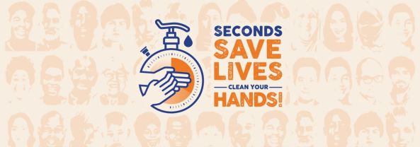 banner for World Hand Hygiene Day,text seconds save lives clean your hands!' vector of tap attached to stopwatch overlay with hands washing