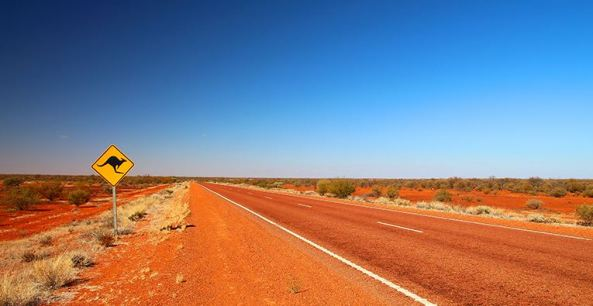 outback road, red dust & dry grass clumps either side, blue skiy, no clouds, kangaroo road sign