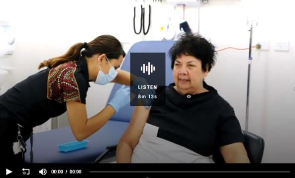 screen shot ABC RN Breakfast with Fran Kelly audio Dr Dawn Casey Deputy CEO NACCHO being administered the COVID-19 vaccine at Winnunga ACT