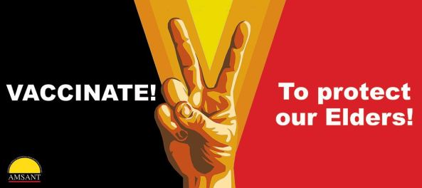horizontal banner black yellow red with vector hand making 'V' sign in the yellow middle section, text 'VACCINATE! Protect our Elders!' - AMSANT logo in bottom left of the banner