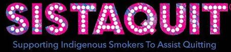 SISTAQUIT logo text' SISTAQUIT' in pink blue letters overlaid with white dots, black background, additional text 'Supporting INdigenous Smokers To Assist Quitting'