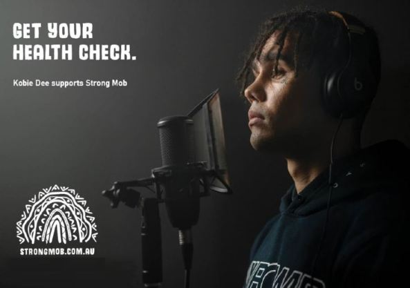 tile text 'Get Your Health Check. Kobie Dee supports Strong Mob Strongmob.com.au' & side on photo of Kobie Dee facing recording microphone