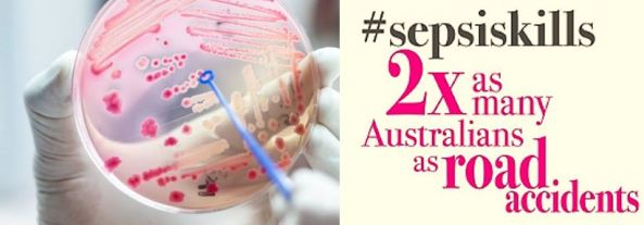 image of gloved hand holding petri dish with sepsis infection; text ' #spesis 2 x as many Australian as road accidents' #sepsiskills in dark grey font & other words in hot pink