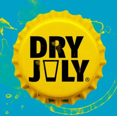 yellow bottle top with black text 'Dry July' against blue background, 'v' in word 'July' is an empty beer glass