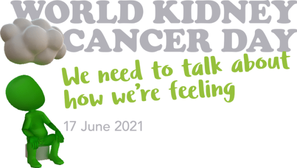 banner grey text 'world kidney cancer day' green text 'we need to talk about how we're feeling' grey text '17 June 2021' vector of green person sitting looking at white bumpy cloud
