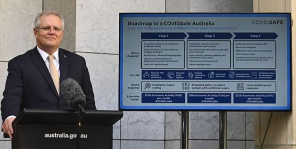 PM Scott Morrison at lecturn with Roadmap to COVIDSafe Australia on screen in background