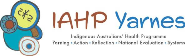 banner text 'IAHP Yarnes IAHP Yarning Action Reflection National Evaluation Systems' 5 Aboriginal art circles overlapping, blue, green, brown, taupe, white