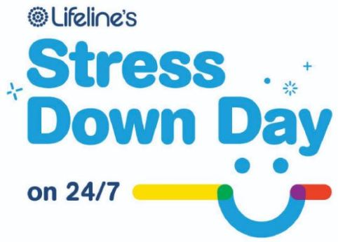 tile text 'Lifeline's Stress Down Day on 24/7' Lifeline logo, text in light blue, smiling face 2 blue dots for eyes, blue semi-circle for mouth, orange line overlapping corner of right side of mouth making intersection purple & longer yellow line overlapping corner of blue left mouth making green