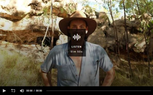 screenshot of Conversations with Richard Fidler, ABC Radio, episode The male midwife, Christian Wright standing in bush with Akubra & open short sleeved shirt