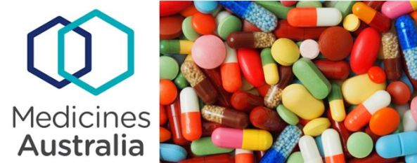 logo text 'Medicines Australia/ navy & aqua intersected hexagons & image of 100s of different coloured tablets
