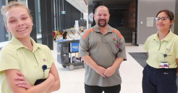 Cleaners Codie Fuller, porter Darrin Smith and cleaner Jade Hookey - general services team at Westmead Hospital i
