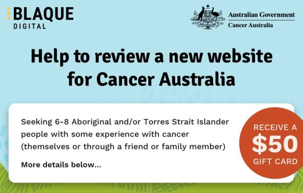 banner text 'helpl to review a new website for Cancer Australia' $50 payment