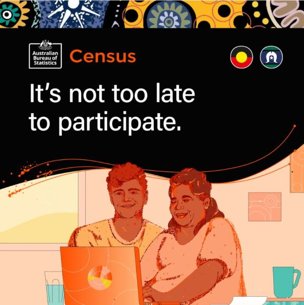 ABS Census 2021 text 'It's not too late to participate' vector image of Aboriginal man & woman