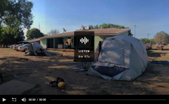 housing in Arnhem Land, tents, run down building