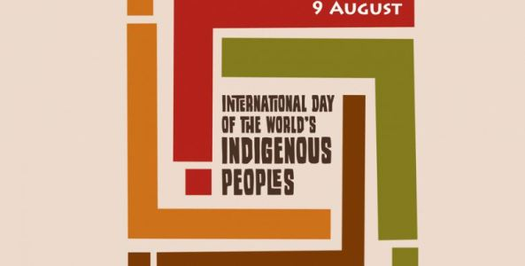 logo text 'International Day of the World's Indigenous Peoples - 9 August' banner lines yellow, red, green, brown, cream background