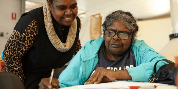Aboriginal woman learning to read. Image source: Literacy for Life Foundation.