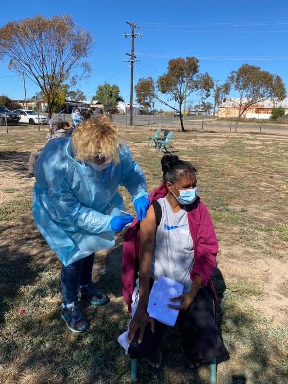 A team from the University of Newcastle nursing staff travelled to Gomeroi Country to provide urgent vaccination and COVID-19 testing to the people of Walgett and greater Western NSW. Image credit: The University of Newcastle.