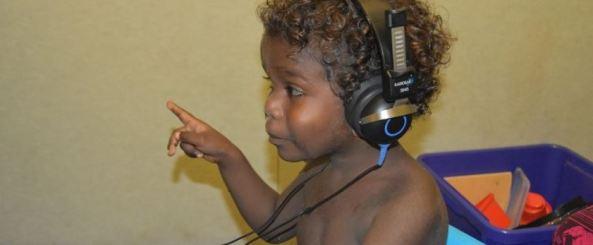 Aboriginal toddler having a hearing test