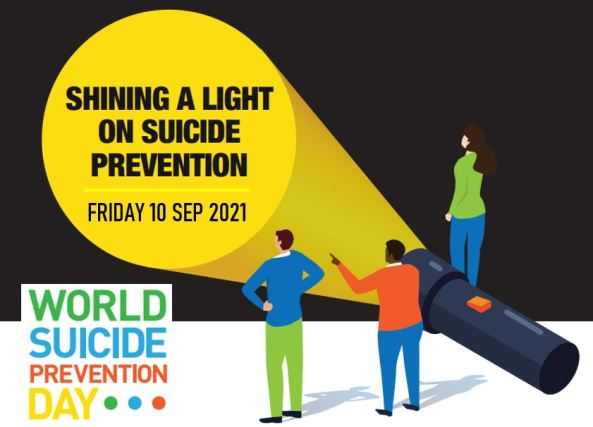 banner text 'shining a light on suicide prevention Friday 10 Sep 2021, world suicide prevention day' vector image of one female male & two males with huge yellow spot light