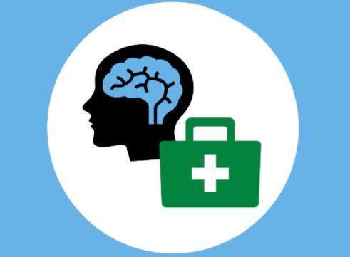 vector image of black head, blue brain, green bag with white medical cross inside white circle, light blue background