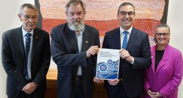 SAACCON's Chris Larkin, Scott Wilson and Tina Quitadamo with Premier Steven Marshall launching South Australia's Implementation Plan for the National Agreement on Closing the Gap. Photo: Department of the Premier and Cabinet.