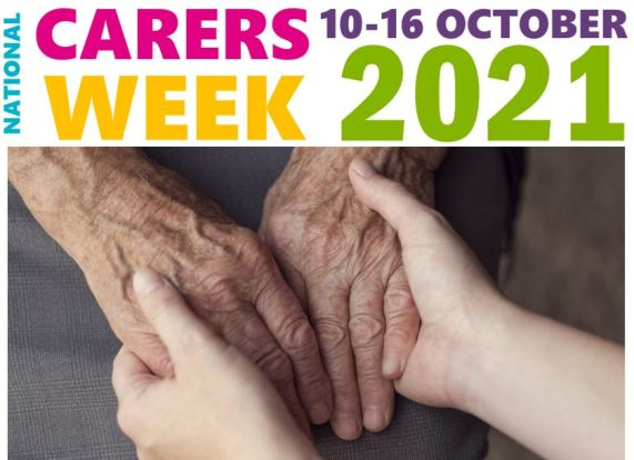 text 'national carers week 10-16 October 2021' & image of aged hands being held by younger hands