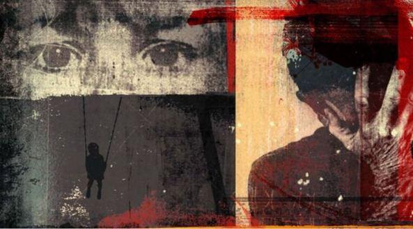 art of child's face, shadows by Alex Williamson, red, grey, black, cream