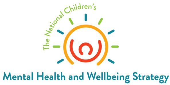 logo for The National Children's Health and Wellbeing Strategy; line drawing red head, arms, orange semi-circle, sunrays blue & green