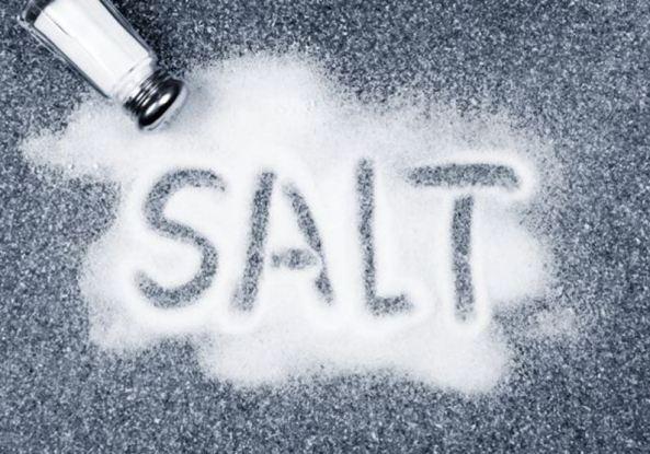 salt shaker, salt on bench with word salt spelt in salt