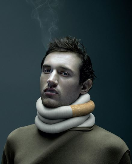 man with smoke coming from nose, mouth, cigarette wrapped around his neck