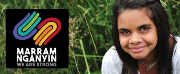 face of Aboriginal girl in a grass field, Marram Nganyin logo