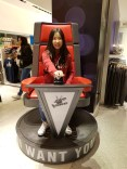 PSP student ShinYoung tries out a judge chair from The Voice.