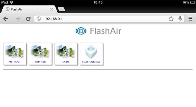 Die Flash Air im Chrome Browser des iPad
