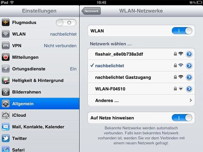 Die Karte als WLAN-Gerät unter iOS