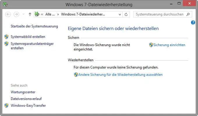 Systemabbild erstellen unter Windows 8