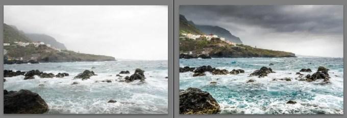 Das Foto aus dem Lightroom Lernvideo vor- und nach der Bearbeitung
