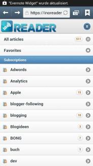 Ino Reader im mobilen Browser