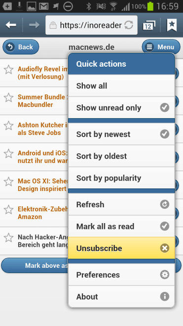 Ino Reader im mobilen Browser