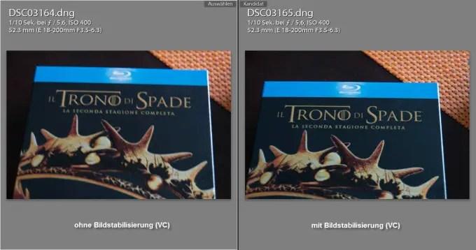 Ohne (links) und mit Bildstabilisator (rechts) bei 1/10 Sekunde Freihand