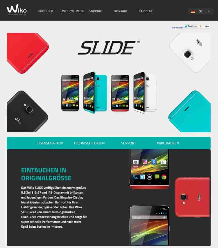 Wiko Slide Website