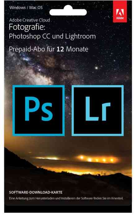 Adobe Creative Cloud Fotografie als Prepaid Version bei Amazon
