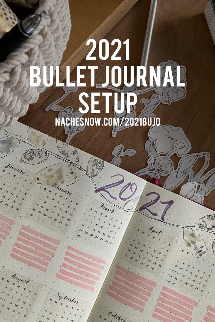 2021 Bullet Journal Setup. Image of an at a glance spread that includes a hand drawn floral design.