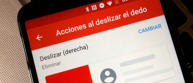 Gmail Acciones al deslizar