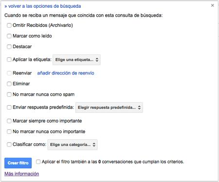 Pantalla 2 filtro Gmail